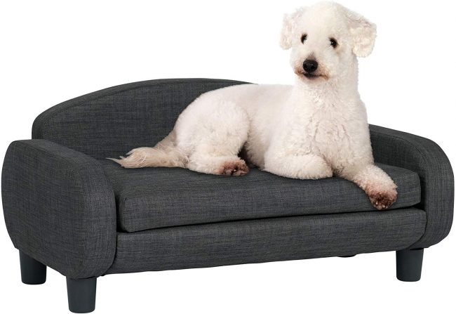 A grey, minimalist pet couch similar to choice #5